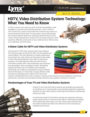 HDTV, Video Distribution White Paper