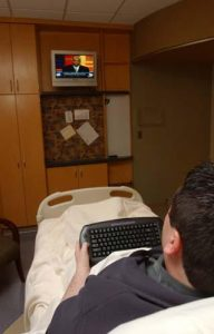 hospital patient watching TV on Networked System