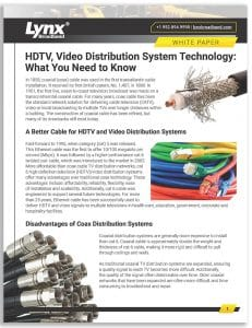 HDTV and Video Distribution White Paper